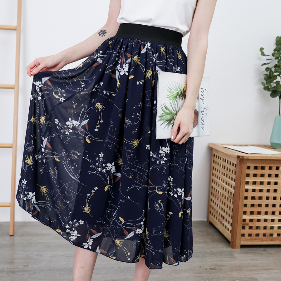 4XL-8XL Plus Size Women Chiffon Skirts Casual Summer Floral Print Large Size 5XL 6XL Skirt 7XL Boho Elastic Waist Beach Faldas