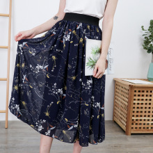 4XL-8XL Plus size Women Chiffon Skirts Casual Summer Floral Print Large 5XL 6XL Skirt 7XL Boho Elastic Waist Beach Faldas