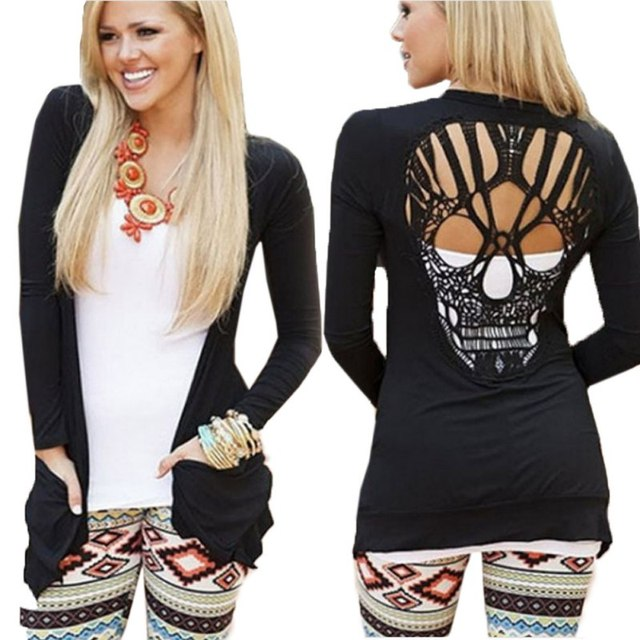 2017 Fashion Women Casual Jacket Jumper Tops Long Sleeve Sexy T Shirt Back Skull Cut Out  Shirt  KJ2 H2