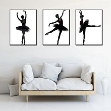 Drop Ship Elegance Ballet Dancer White & Black Poster Print on Canvas 3 Piece Wall Art for Living Room Decor Office Artwork Gift