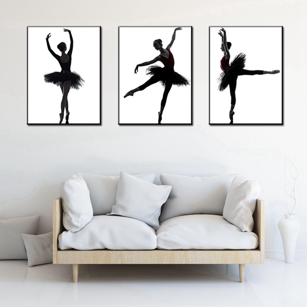 US $9.13 17% OFF|Eleganz Ballett Tänzerin Weiß und Schwarz Poster Drucken auf Leinwand 3 stück Wand Kunst für Wohnzimmer Decor Büro Kunstwerk drop