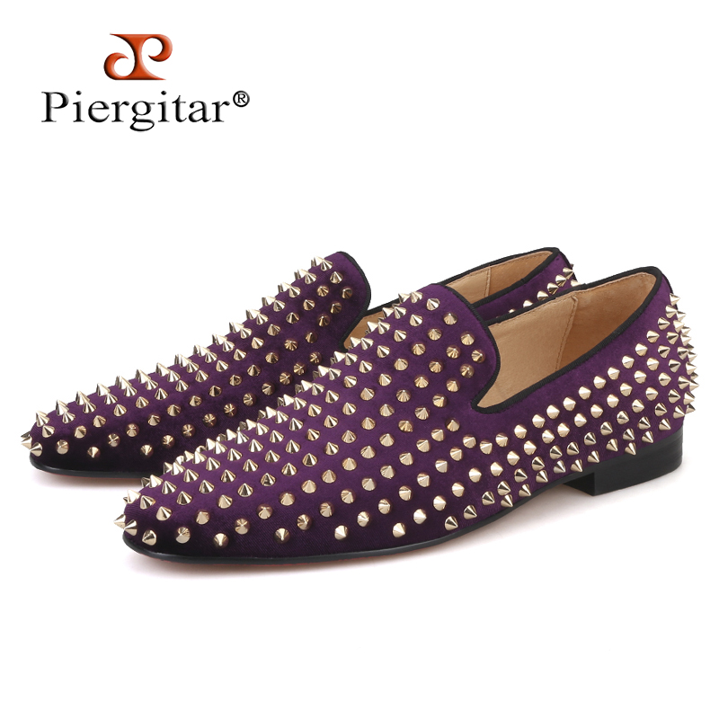 Piergitar 2018 Handmade Purple velvet with gold rivets men loafers Fashion Party and prom somking slippers plus size men's shoes