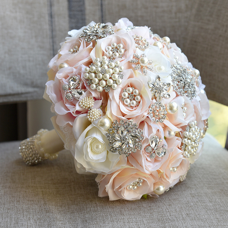 JaneVini Luxurious Bridal Bouquets For Wedding With Pearls Beaded Silk Flower Rose Bride Accessory Bouquet De Mariage Artificiel