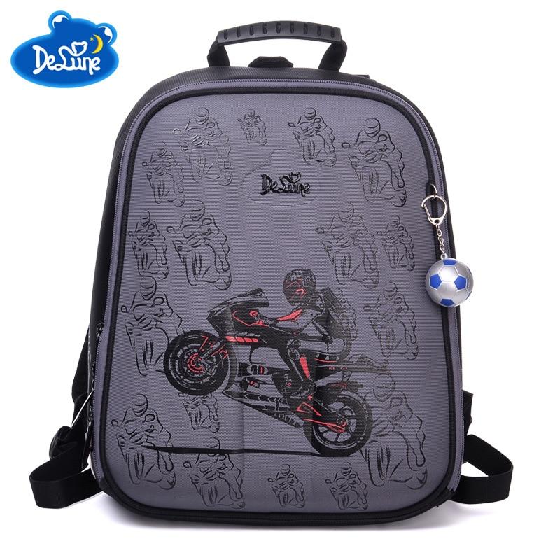 Delune Brand Original Cartoon Kids Motorcycle Cars School Backpack for Boys Orthopedic Backpack Schoolbag Children s