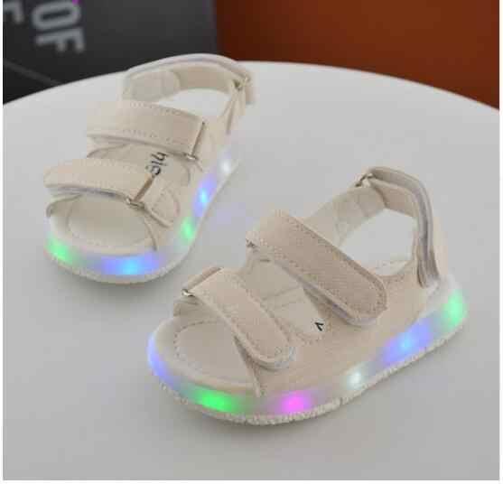 Новые летние детские со светодиодной подсветкой сандалии для мальчиков и девочек Спорт повседневное свет обувь для детей детские детская обувь на плоской подошве пляжные сандали