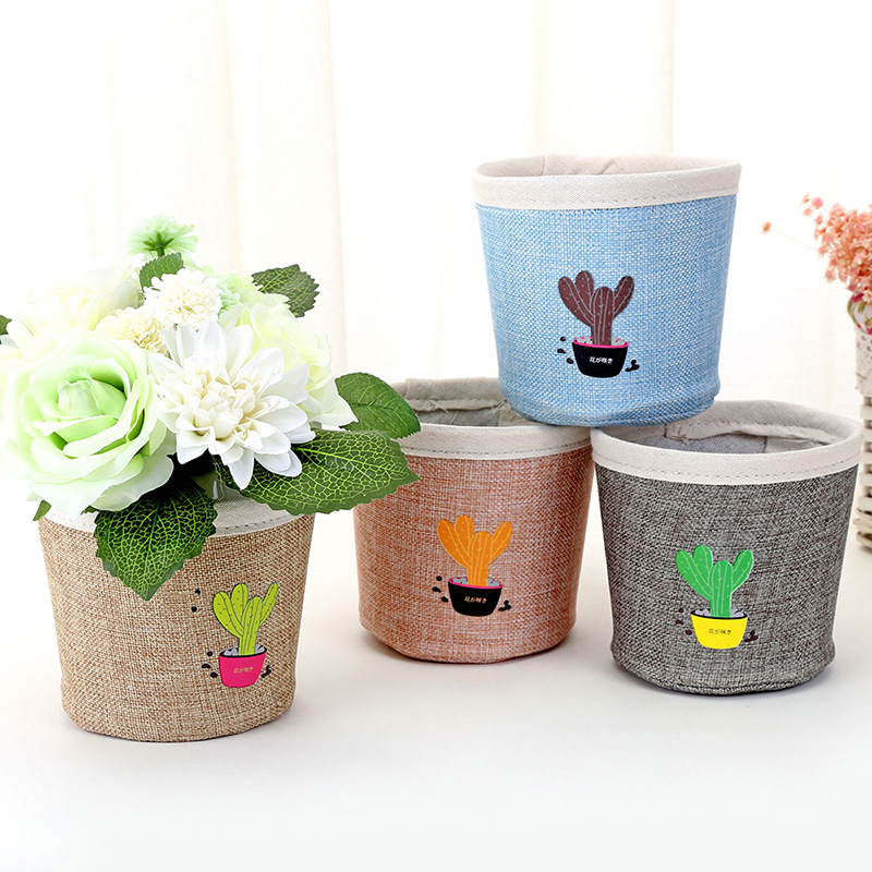 Cotton Storage Bags of Plant Flower Pot Bag Basket Home Storage Organization Storage Basket Portable Sundries Organizer C