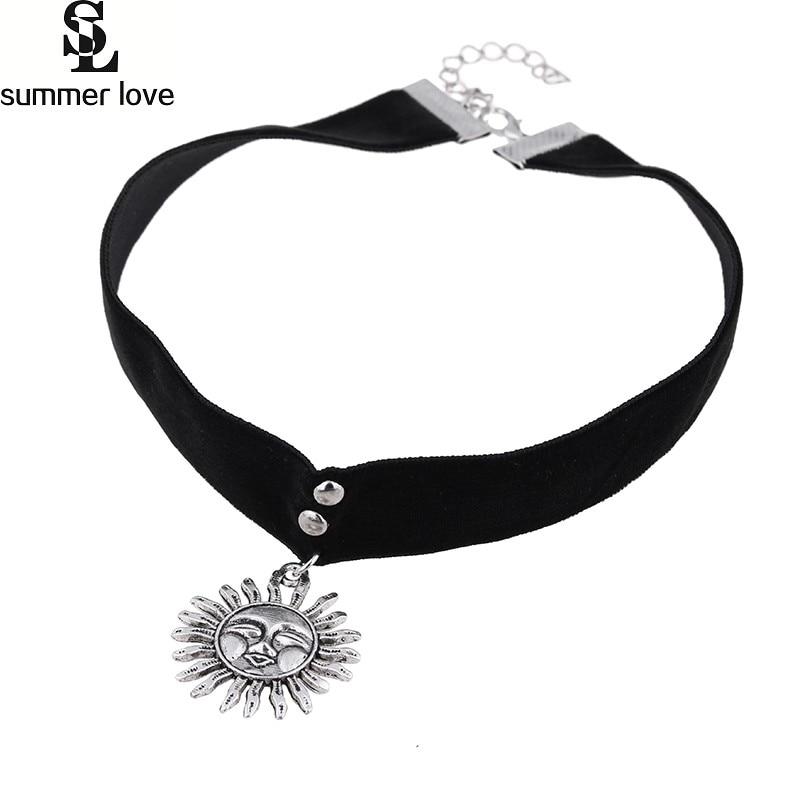 Klassieke goth sun choker zwart lint fluwelen chockers retro cosplay - Mode-sieraden - Foto 1