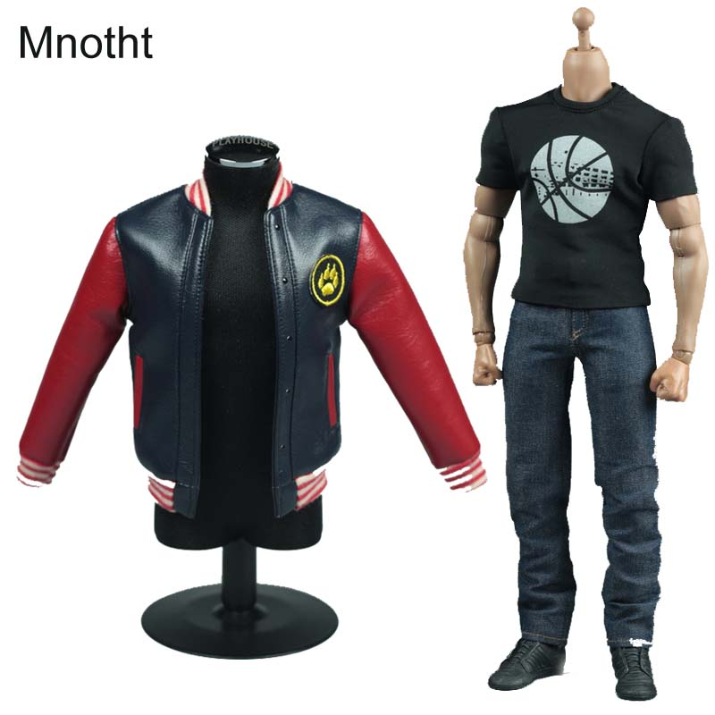 Mnotht 1/6 Male Solider V1001 Jacket jeans set Men's leather jacket casual suit For 12in Male Body Action Figure Toys l30 1 set male