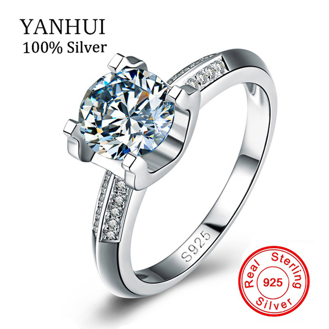 big sale real solid silver ring set 1 carat sona cz diamant wedding ring for women - Wedding Ring Sale