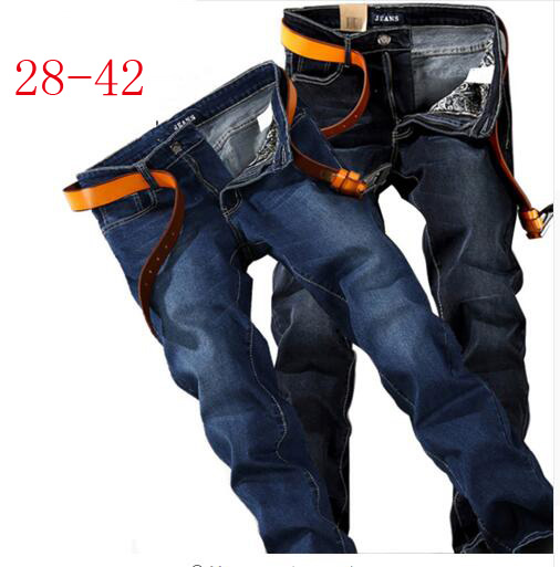 Plus Size 40 42 44 46 48 Men Jeans Male Straight Fit Mens Denim Pants Fashion Slim Blue Black Elastic Jeans For Men men jeans 2017 autumn winter mens denim jean blue cotton pants men denim trousers slim fit jeans male plus size high quality