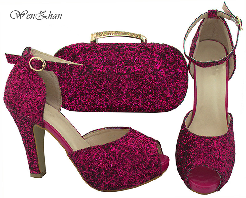 b329d03844e WENZHAN Shining Paillette Fuchsia Open Toe Shoes Top Quality Italian shoes  with clutch bags matching set in any occasion B712 30-in Women's Pumps from  ...