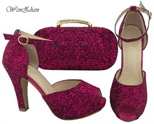 WENZHAN Shining Paillette Fuchsia Open Toe Shoes Top Quality Italian shoes with clutch bags matching set in any occasion B712-30