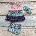 Nueva niñas bebés trajes niños pantalones cortos de verano boutique ruffles trajes floral sol-tapa de algodón ropa a juego con accessoris arco