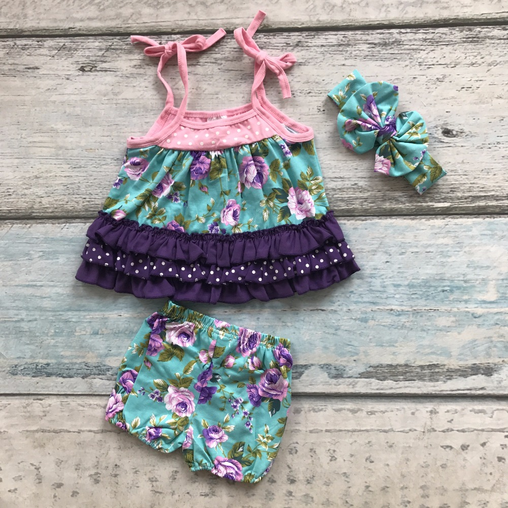 new baby girls outfits kids summer shorts boutique ruffles outfits floral sun-top cotton clothing with matching accessoris bow 2016 summer baby child girls outfits ruffles shorts white striped watermelon boutique ruffles clothes kids matching headband set