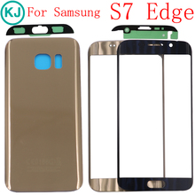 New S7 Edge Front Touch Glass Lens For Samsung G935F G935A LCD Display Outer Panel Screen Glass+ Back Case+Stickers Replacement