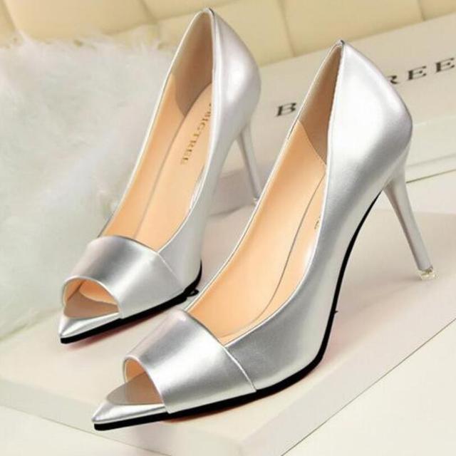 {D & H} Estilo Europeo Mujeres de La Manera Bombas Sexy Punta Abierta Zapatos de tacón alto Finos zapatos de Tacón Alto zapatos de Marca Sapatos Femininos mujer