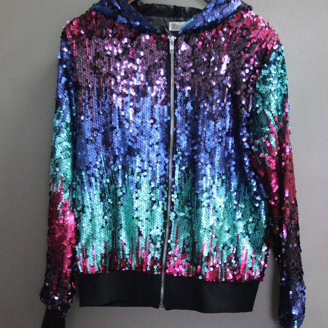 DYC003  Women high quality Beads embroidery flower color all-match leisure jacket zipper jacket Sequin beads coats/2color 1size