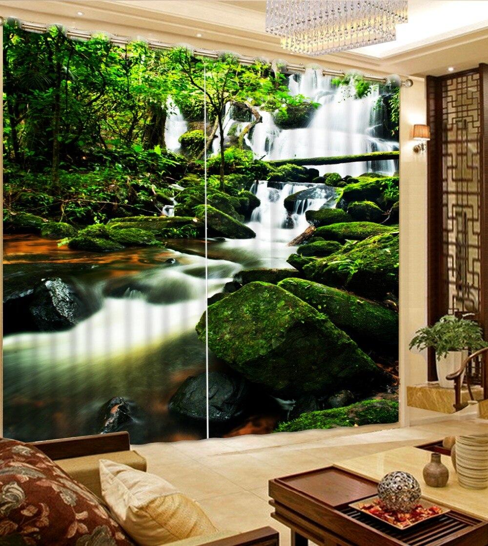 Современной гостиной шторы 3d шторы натурального дерева Creek пользовательских шторы спальни дома украшения