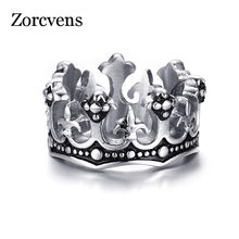 LETAPI Men's Rings Black Royal King Crown Knight Fleur De Lis Cross Vintage Rings for Men Jewelry(China)