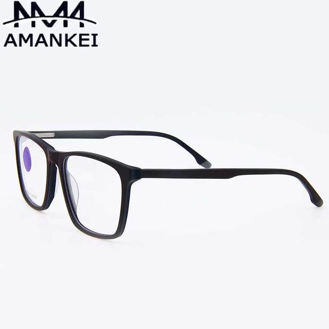 Glasses Clear For Male AMANKEI Square Solid Black Plastic Eyeglasses ...