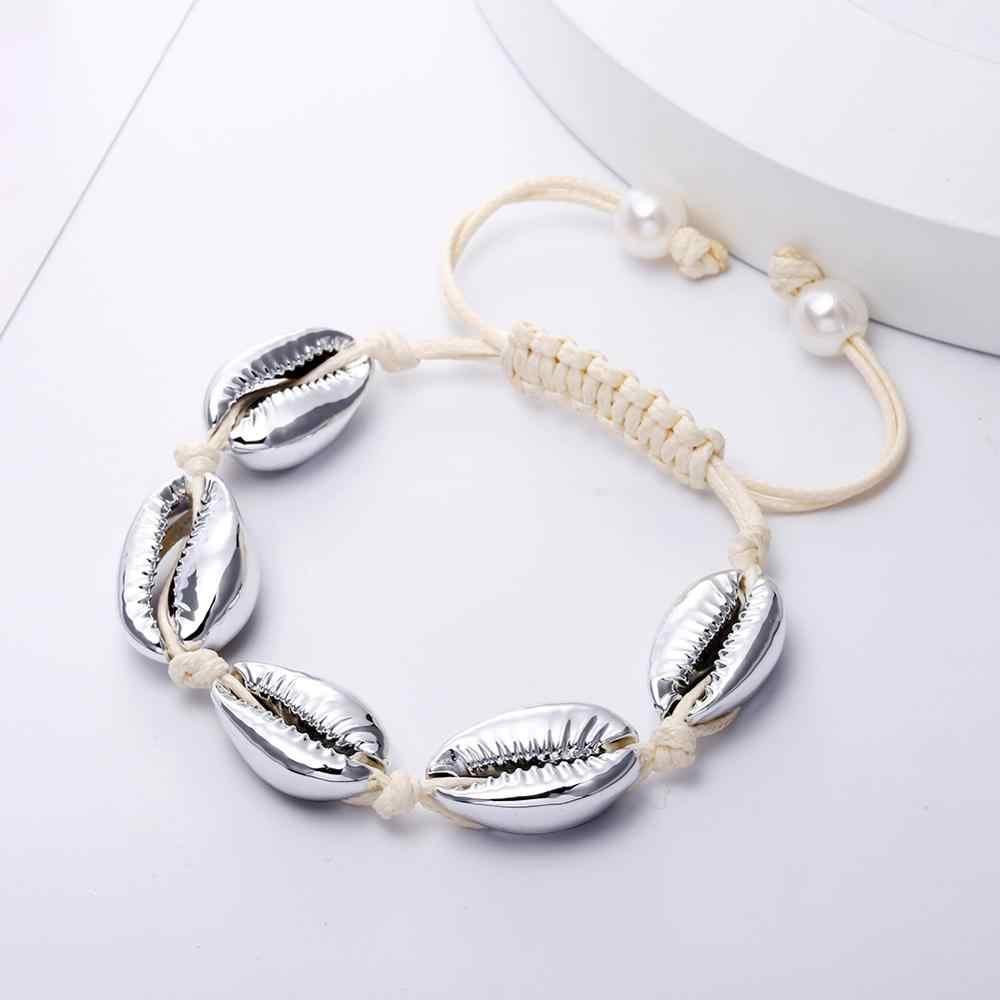 Bohemia Handmade Women Bracelets Natural Cowrie Sea Shell Knit Strand Bracelet Rope Adjustable Delicate Beach Jewelry Girl Gift