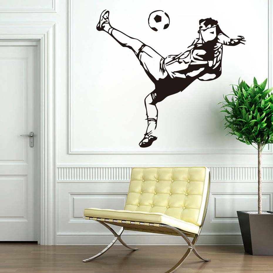 Football Wall Murals Creative School Wall Stickers Home Decor Self Adhesive  Wallpaper Sport Art Living Room Bedroom Decals-in Wall Stickers from Home  ...