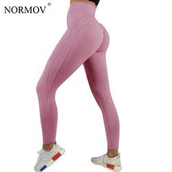 NORMOV Сексуальная Push Up женские леггинсы тренировка Костюмы сердце леггинсы с высокой талией женские дышащие Лоскутные Джеггинсы Activewear
