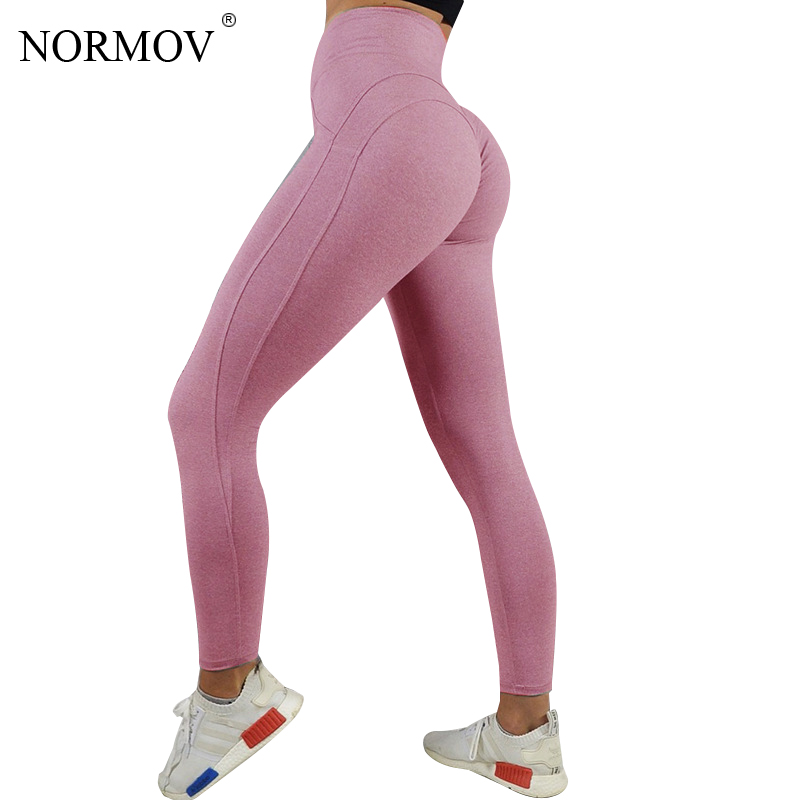 NORMOV Sexy Push Up Leggings Women Workout Clothing Heart High Waist Leggins Female Breathable Patchwork Jeggings Activewear