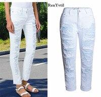 RenYvtil Europe Women Bottom Jeans Boy Friend Style Ripped Punk White Denim Pants Woman Straight High Waist Sexy Pencil Jeans