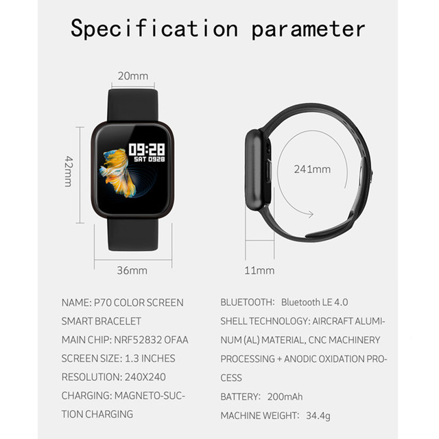 Fitness tracker bracelet P70 smart watch band blood pressure clock IP68 waterproof upgrade P68 fast ship for dropshipping 5