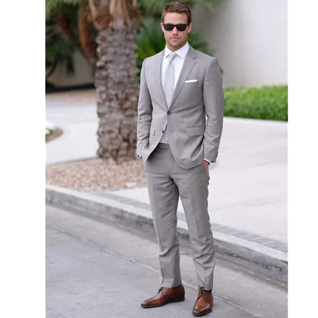 New Costume Homme Mariage Light Gray Men Suits Formal Occasion Business Men  Office Wear Suit Prom 6b337e33878