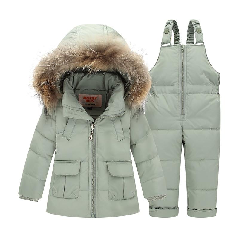 WENWENDEXINGFU Baby Girl Boy Winter Clothes Sets Warm Thicken Duck Down Coats+Overalls Windproof Children Kids Clothing Suits стоимость