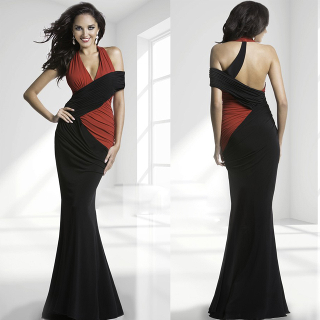 Two Colors Halter Long Evening Gown New Design Sexy Backless ...