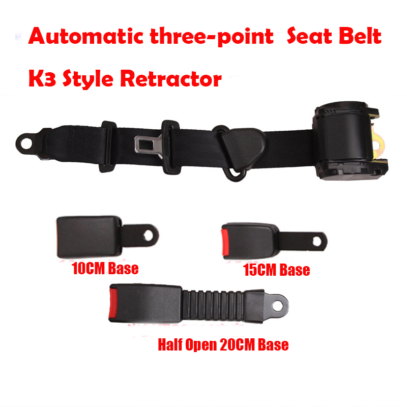 K3 Style Universal Retractable Truck 3 Point Auto Car Seat Belt Safety Seat Lap Belt Set Kit Buckle 3 Kinds Of Base