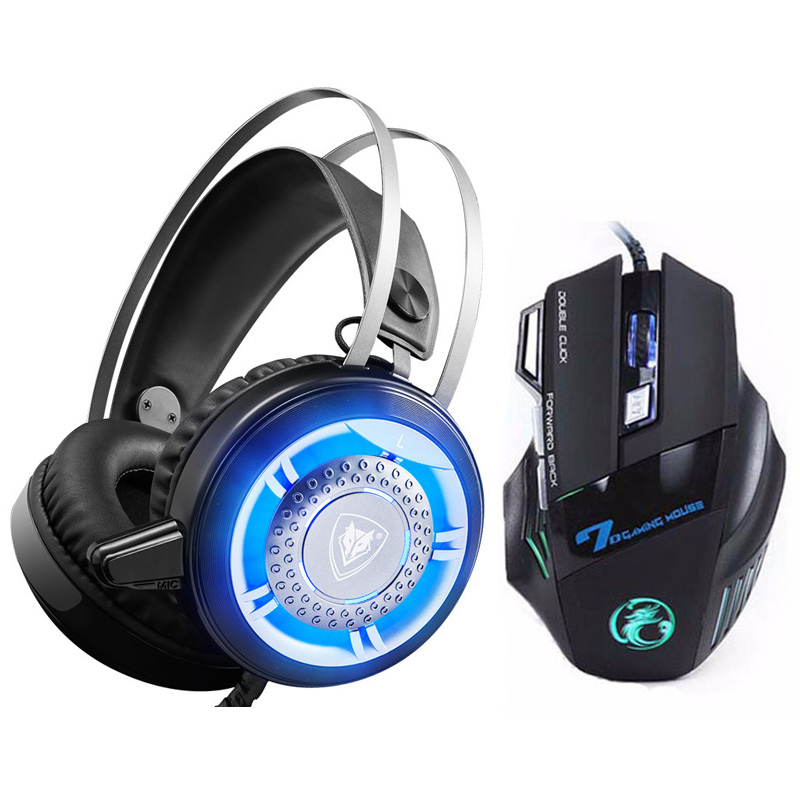 New Cool Wired Gaming Headset LED Light Computer Headphones Deep Bass Game Earphone with Microphone+7 Buttons Pro Gaming Mouse