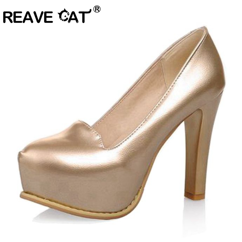 63e5d59dd4c REAVE CAT Spring summer Ladies high heel shoes Woman pump Platform Pointed  toe Glitter Fashion Sexy Party shoes Big size 33 - 43