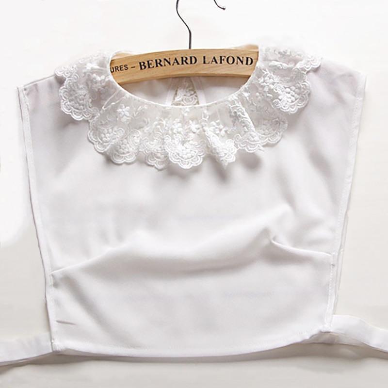 Women Lacet False Detachable Collar White Chiffon Ruffle Fake Collars Apparel Accessories
