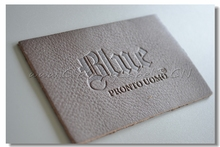 custom real leather labels for clothing, jeans label, embossed logo