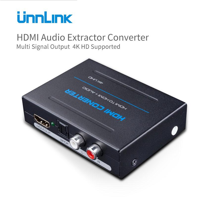 Unnlink HDMI Audio Extractor Convertisseur HDMI à HDMI Optique Toslink RCA L/R Adaptateur 4 K UHD Stéréo Analogique 5.1 Spdif Splitter