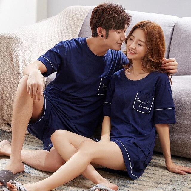 2018 летние пары пижамы хлопок женщины с короткими рукавами тонкие модели рубашки мужские хлопчатобумажные домашние комплекты комплект из 2 элементов рубашка + Шорты