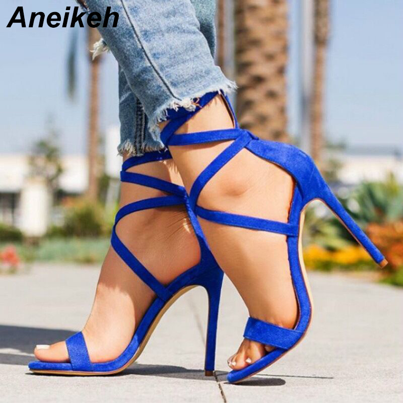 Aneikeh Sandals Women's High Heeled Sandals Shoes Summer Zipper Gladiator Party Dress Sandals Cross-tied Thin Heel Ladies Shoes