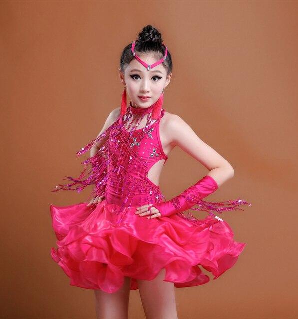 8f82a9af386f Fringe Ballroom Dance Competition Dresses For kids Cha Cha Samba ...
