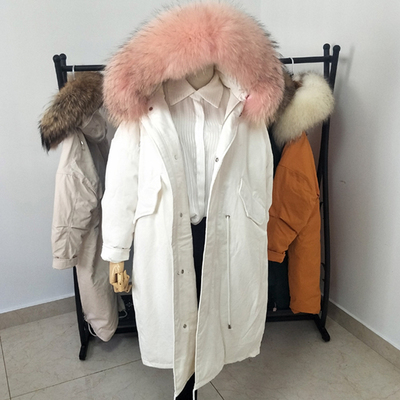 White Duck Down parkas mujer 2018 Plus Size Loose Women Hooded Down Jacket Big Real Fur Collar Padded Winter Coat Female B552