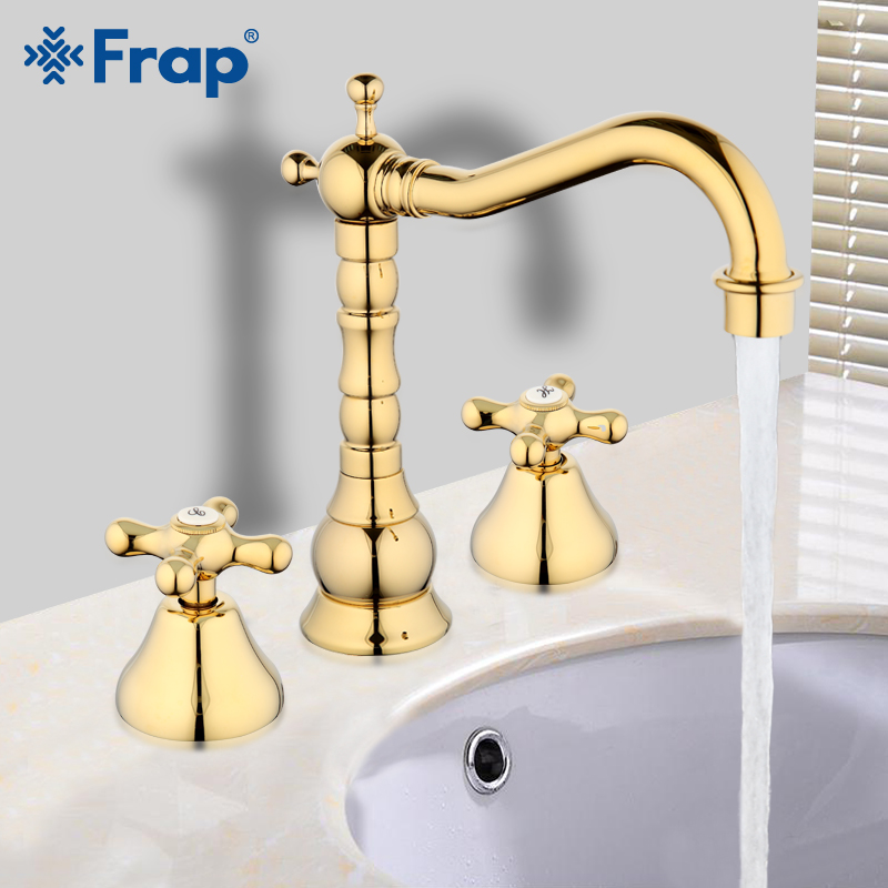 Frap 3 pcs Gold Finished Brass Deck Mounted Bathroom Mixer Tap Basin Sink Faucet Water Tap G1163-6Frap 3 pcs Gold Finished Brass Deck Mounted Bathroom Mixer Tap Basin Sink Faucet Water Tap G1163-6