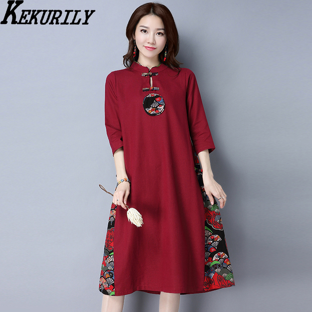 8ef069a0b8 KEKURILY women dress cotton linen elegant vintage shirt dresses retro red  Chinese style tunic suit female floral clothing