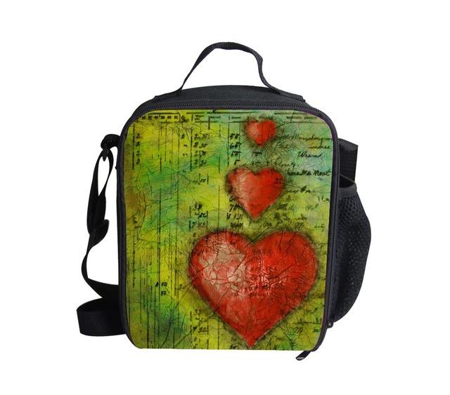 Regalo de Navidad nueva moda FORUDESIGNS niños bolsas de comida con aislamiento térmico lindo del corazón de impresión hombro lonchera niños lunch box