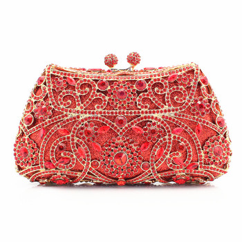 Red Color Crystal Ladies Bridal Clutch Bags Women Evening Party Handbags