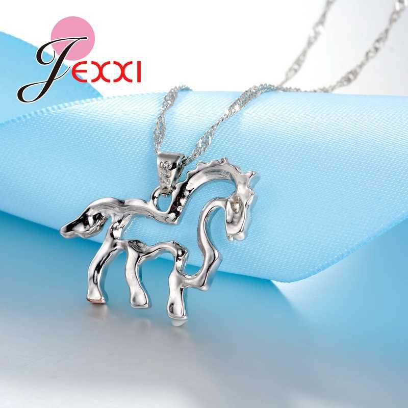 Nette Pferd CZ Kristall Anhänger 925 Sterling Silber Schmuck Sets für Frauen Mädchen Hochzeit Party Zubehör Halskette Ohrringe