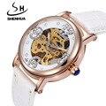 Das Mulheres novas Relógios Mecânicos Shenhua Marca de Topo de Luxo Rosa de Ouro Esqueleto Mecânico Automático de Pulso Relógios Para As Mulheres Senhoras