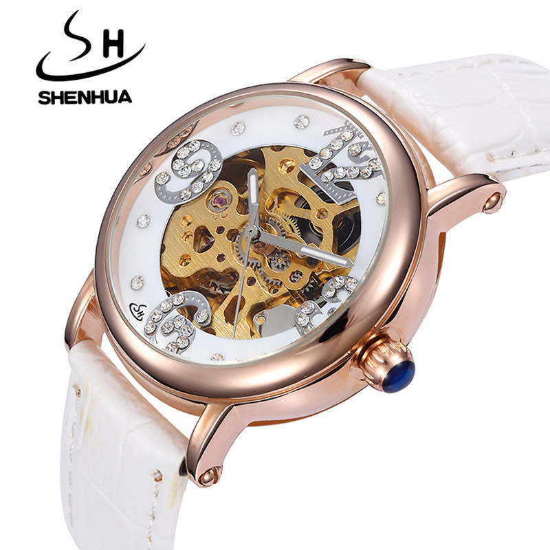 New Women s Mechanical Watches Shenhua Top Brand Luxury Rose Gold Automatic Mechanical Skeleton Wrist Watches